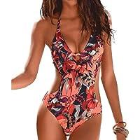 DURINM Donna Costume da Bagno Intero Elegante Striscia Multiway Imbottito Push Up Bikini Un Pezzo Sexy Tankini Swimwear…