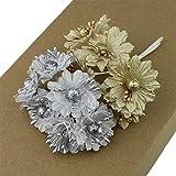 Delush Design Artificial Flowers (Golden, Silver, 36 Piece)
