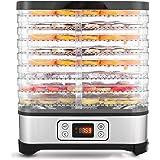 Hopekings Deshidratador de Alimentos 8 Pisos Bandejas, Deshidratador de Frutas y Verduras 400W con Temporizador 72H y Tempera