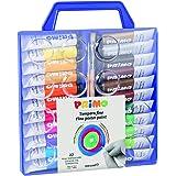 Morocolor PRIMO, Tempere per dipingere 22 colori valigetta con coperchio tavolozza e pennelli tempere lavabili per bambini co