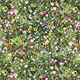 Fabulous Fabrics Halbpanama Wildblumen – grün —