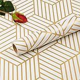 Hode Zelfklevende Behang Meubelsticker Zeshoek Champagne Gouden Strepen Geometrische Zijwand Papier Peel en Stick Vinyl Film