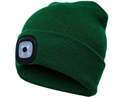 PRAVETTE LED Lighted Beanie Hat,USB Rechargeable Hands Free Headlamp Cap,Unisex Winter Warmer Knit Hat with Light for Men,Wom
