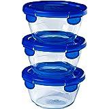 Pyrex® - Cook & Go - Lot de 3 boîtes de conservation en verre rondes avec couvercles hermétiques et étanches - ∅15cm - 0.7L -