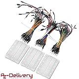 AZDelivery Breadboard Kit - 3 x 65pcs Jumper Wire Cable M2M e 3 x Mini Breadboard 400 Pins per Arduino, Raspberry Pi