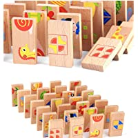 Toyshine 28 Pcs Printed Educational Wooden Toy Domino Animal Puzzles Kids , Game Gift
