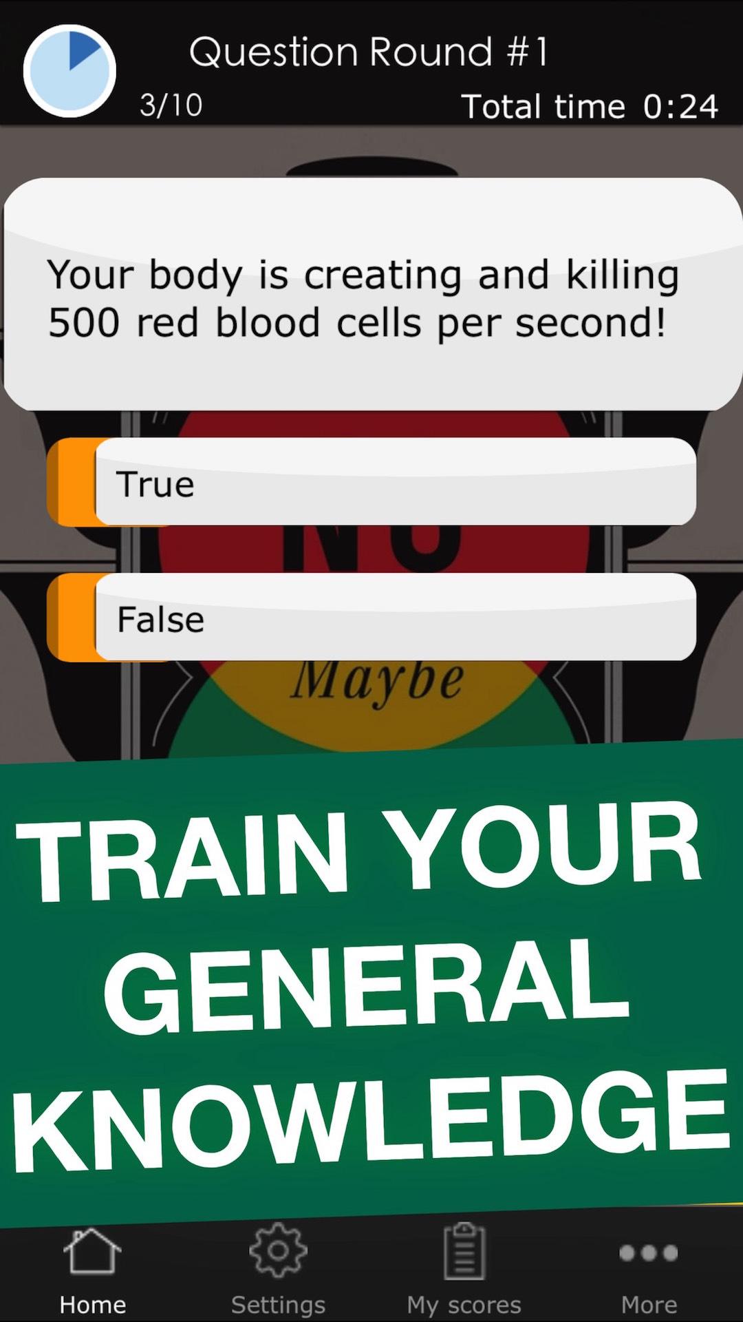 True or False Challenge - Funny Science Quiz Trivia Game App
