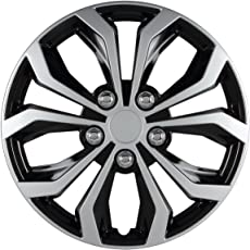 """Pilot Automotive WH553-15S-BS Spyder 15"""" Performance Wheel Cover, Two Tone Black/Silver Finish, (Pack of 4)"""