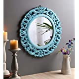"The Urban Store Wood Hand Crafted Round Shape Vanity Wall Mirror Glass for Living Room, 20""X 20"" Blue"