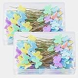 200 Piezas Alfileres Cabeza Plana Mariposa, Alfileres Costura con Cabeza de Mariposa en 5 Colores Decorativos, Agujas para Pr