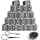 24pcs perline di rune vichinghe e elastici neri set accessori per collana braccialetto intrecciato, perline di barba in metal