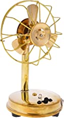 THE DIGITAL STORE Metal Antique Fan (10 cm x 9 cm x 16.5 cm, Gold)- Set of 2