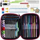 Litthing 100PCS Aiguilles à Crochet Accessoires à Tricoter Crochets de Tricot Set Outils Trousse pour Tissage Artisanal Début