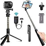 PEYOU Selfie Stick-statief met oplaadbare Bluetooth-afstandsbediening, [Upgrade] 82 cm mobiele telefoonstatieven voor Gopro-c