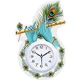 Aayog creations Wall Clock for Home Living Room Office Bedroom Decor Stylish Clock (White, 16 x11 Inch, Wood, ) (Basuri)(Whit