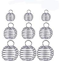 ULTNICE - Ciondolo sferico per perle, a spirale, stile gabbia, placcato, per la produzione fai-da-te di gioielli…