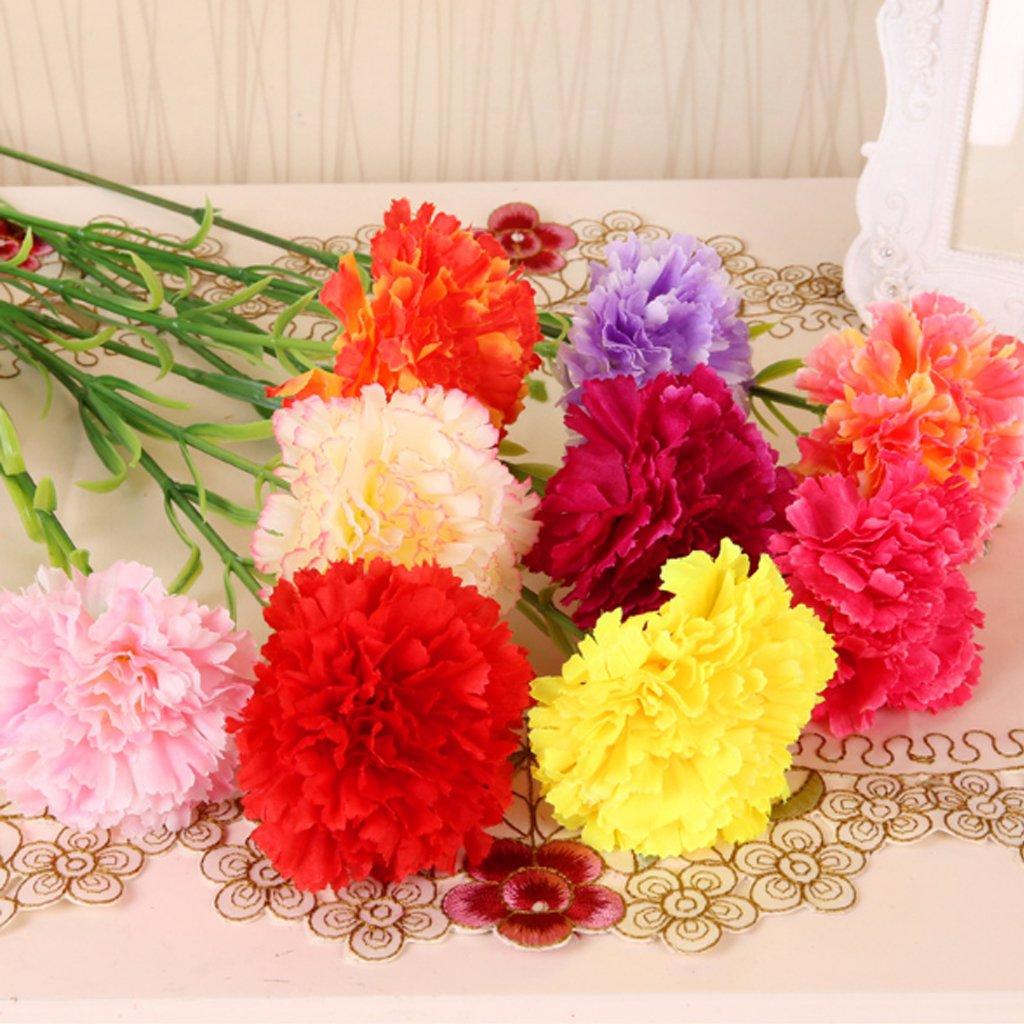 decorado para la boda de dama de honor novia amarillo simulaci/ón de flor de clavel Artificial 1/Paquete de 10 longsw