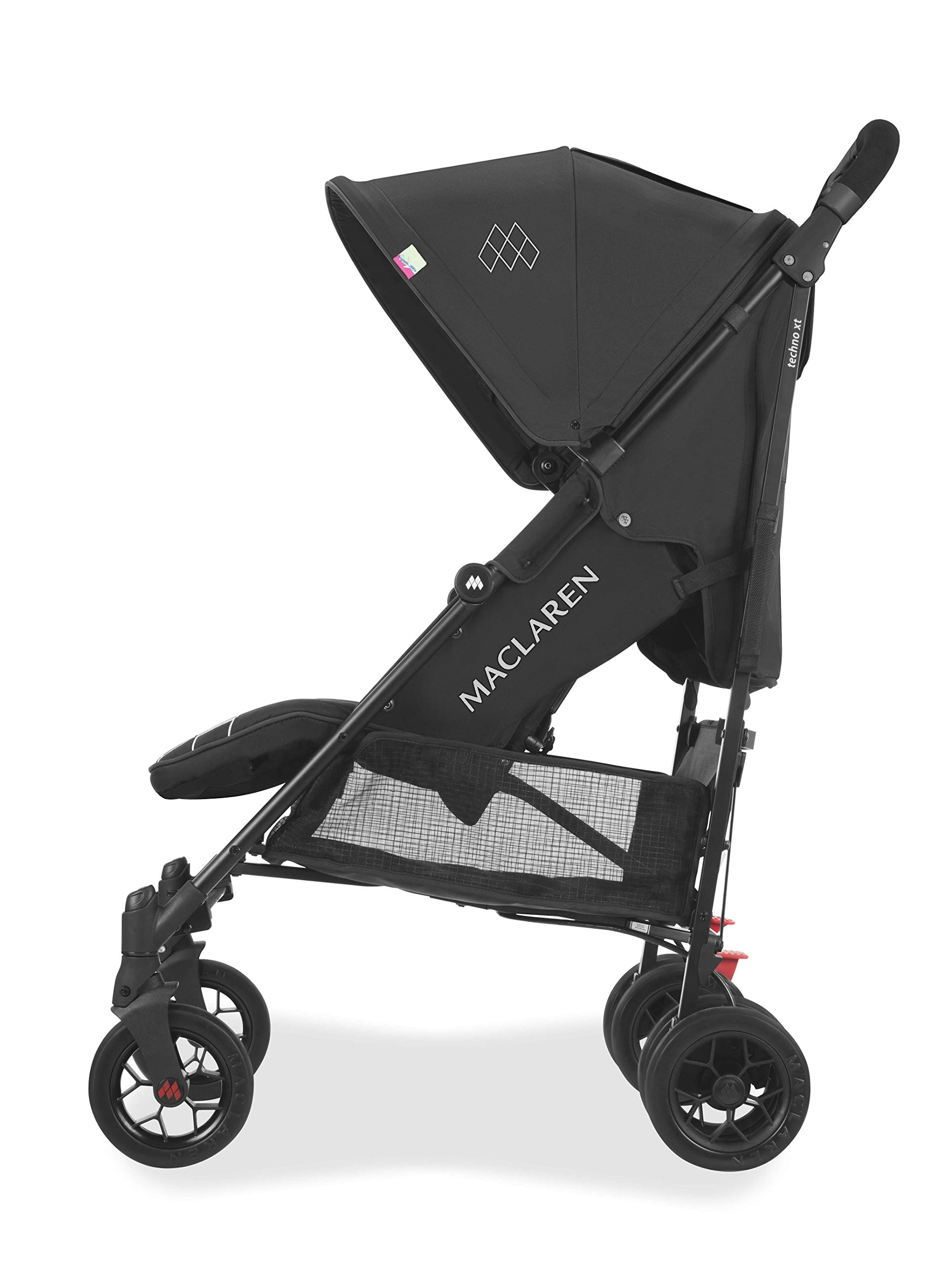Maclaren Techno arc Stroller - lightweight, compact,Black/Black Maclaren The techno arc's basic weight is 7.1kg; ideal for newborns and children up to 25kg. The folded dimensions are 113cm L x 35cm w x 35cm H. The stroller is assembled The techno arc's padded seat reclines into 4 positions and converts into a new-born safety system. Coupled with ultra light flat-free eva tires and all wheel suspension The techno arc includes a wind-resistant rain cover and headhugger & shoulder pads. Waterproof/ upf 50+ hood to protect from the elements and machine washable seats to keep tidy 2