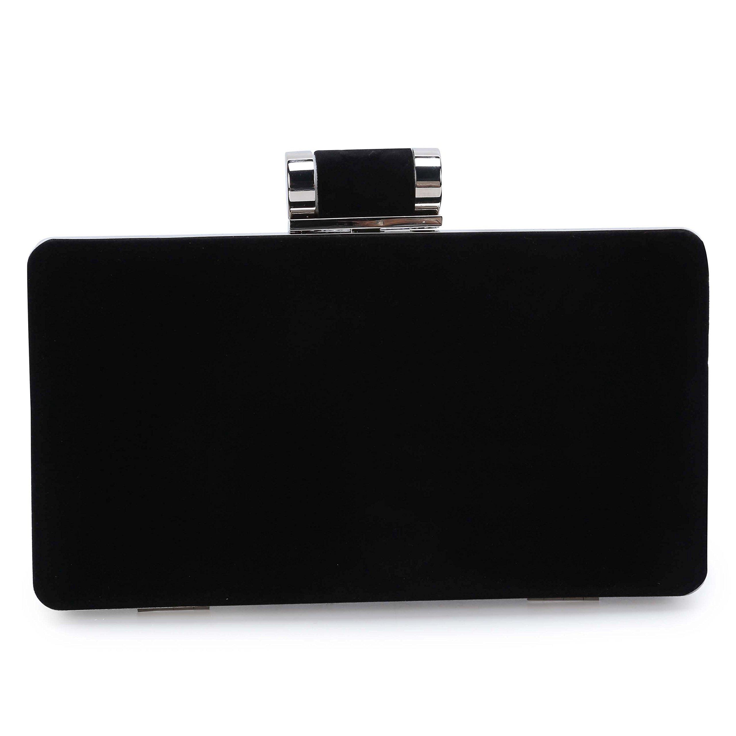 Bolsa de Fiesta BAIGIO Clutch Fiesta Cartera Billetera de Mano Elegante para Mujer Diseño Sobre de Terciopelo,Negro