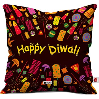 Indigifts Diwali Decoration Items Happy Diwali Quote Brown Cushion Cover 12x12 inches with Filler - Diwali Gift Items, Dipawali Gift Items, Dipawli Gifts, Deepawali Greetings, Deepavali Decoration