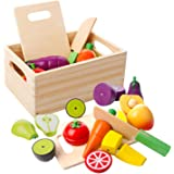 mysunny Wooden Kitchen Cut Food Kids Toy, Fruits and Vegetables Magnetic Toy, Cooking Simulation Educational Toys and Color P