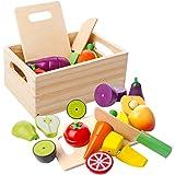 mysunny Träkök skuren mat barnleksak, frukt och grönsaker magnetisk leksak, matlagning simulering pedagogiska leksaker och fä