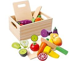 mysunny Frutta e Verdura Giocattolo, Cucina Magnetico Legno per Bambini Giocattoli, Cucina di Simulazione di educativi e perc