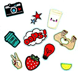 Segolike 10 Pieces DIY Embroidered Sew Iron on Patches Gesture Star Camera Strawberry Applique Decorations