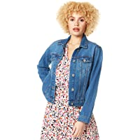 Roman Originals Women Jean Denim Jacket - Ladies 100% Cotton Summer Casual Stretch Cropped Crop Smart Utility Trucker…