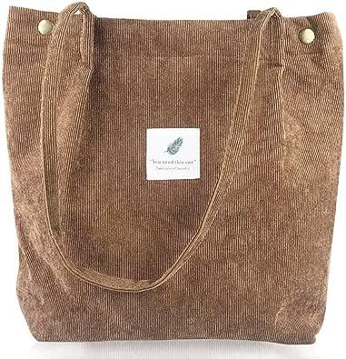 BESLIME Handtasche groß Cord Tasche Damen Handtasche Shopper Damen für Uni Arbeit Mädchen Schule(Hellbraun)
