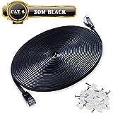 30m de Câble Réseau Noir - CAT6 (amélioré) Câble Cat 6 Ethernet Plat 1000 Mo/s 350MHz - 100% Fil de Cuivre - Supporte Switch/