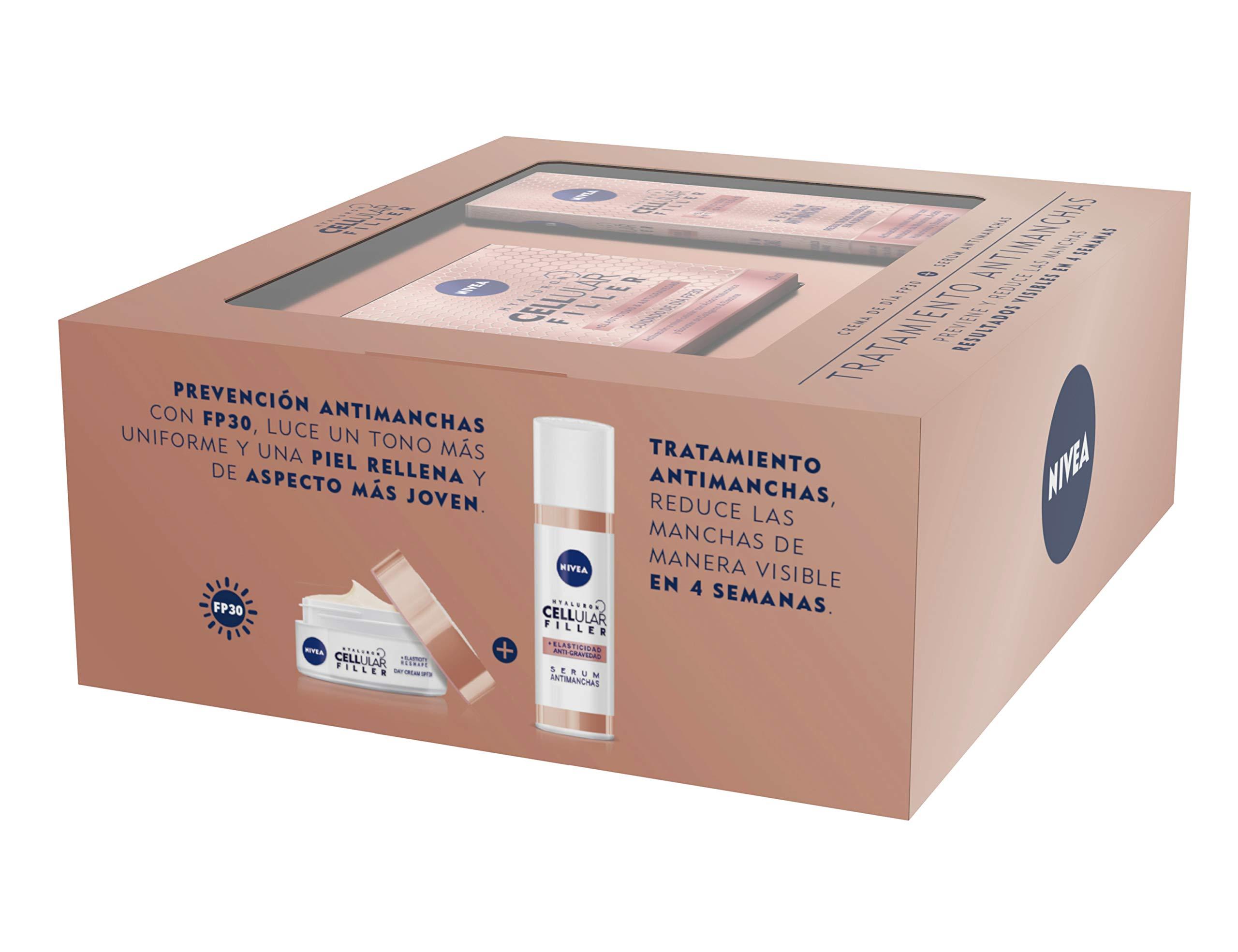 NIVEA Hyaluron Cellular Filler, pack tratamiento antimanchas con ácido hialurónico, caja de regalo con crema de día con…
