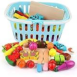 BeebeeRun trä leksak för barn, leksaker mat för barn över 3 år, skära mat och grönsaker, låtsas spela, kök leksaker för pojka