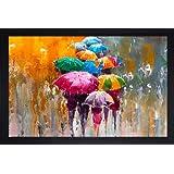 SAF Rainy Umbrella Modern Art UV Coated Home Decorative Gift Item Framed Painting 14 inch X 20 inch SANFM6680