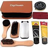 DigHealth 8 Pezzi Kit Lustrascarpe, con Lucido da Scarpe Nero e Neutro, Spazzola Scarpe, Crema Calzature, Panno Lucidante, Ca