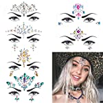 6 Sets Women Mermaid Face Gems Glitter,Rhinestone Rave Festival Face Jewels,Crystals Face Stickers, Eyes Face Body...