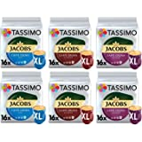 Tassimo Café Jacobs café crema XL Sélection - Jacobs Caffé Crema Mild XL/Classico XL/Intenso XL Dosettes Café - Lot de 6 (96