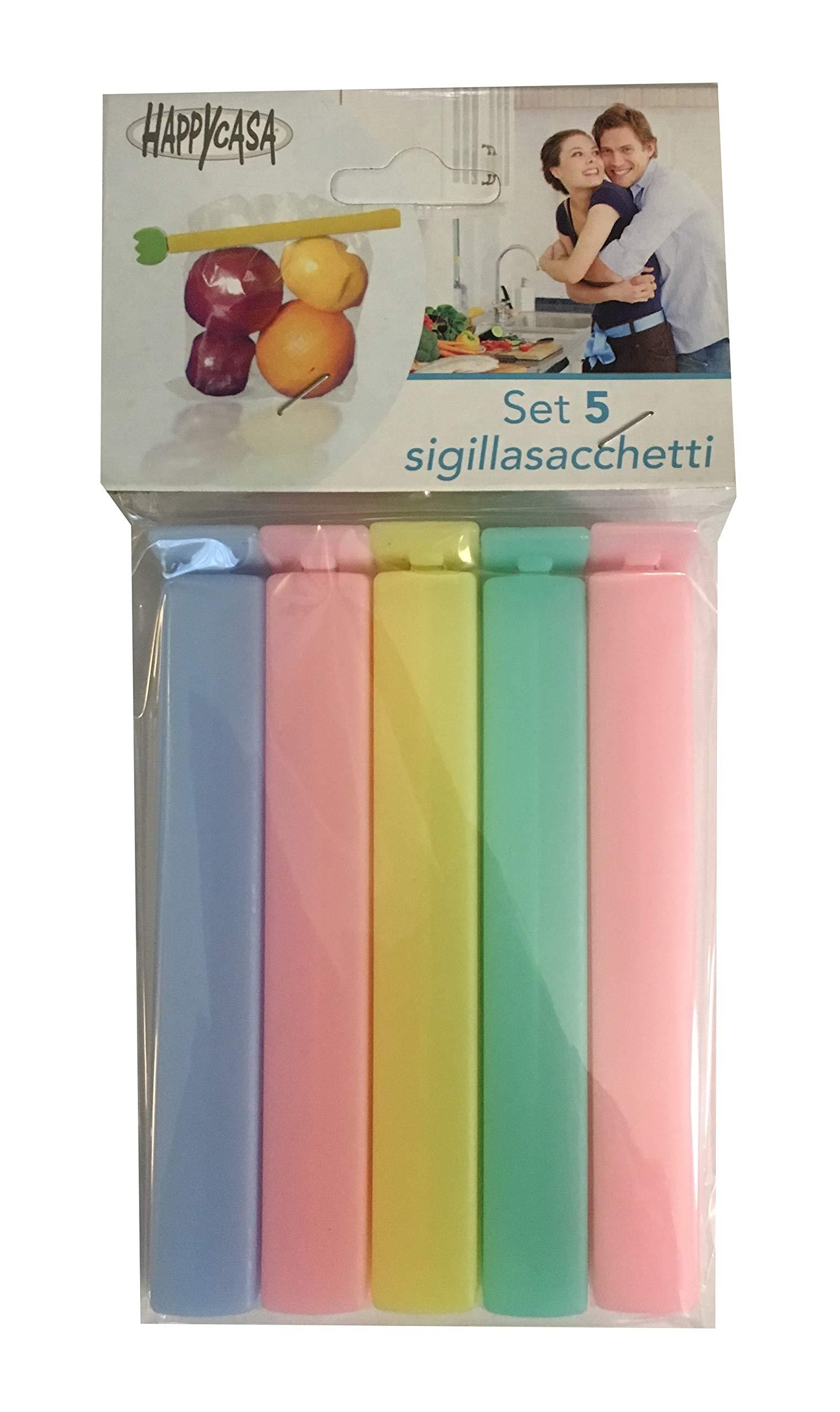 Happy Casa Set 5 Pezzi Mollette Sigilla Sacchetti Salva Freschezza