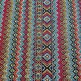 Stoff-Kollektion Tessuto al Metro in Cotone Zigzag a Righe Messico Arancione Turchese Tessuto Decorativo tovaglia