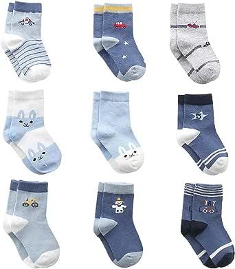 Cotton Coming Cotone Bambino Neonato Calzini ,9 Paia Carino Bambino Calzamaglie Neonati, Calzini per bambino
