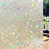 DuoFire Película De Ventana No adhesiva Decorativa del Vidrio de Ventana Vinilo Autoadhesiva Sin Pegamento con Electricida Estática para el Cristal de Ventanal de Baño Cocina Oficina Control de Calor y Anti UV DL005 (90cm X 200cm)