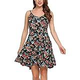 UNibelle Sommerkleid Damen Kurz Kleider Knielang Trägerkleid Leicht Blumen XS-XXL