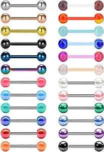 AceFun 12 Pairs Acciaio Chirurgico Linguetta Bioflex Barbell Capezzoli Bar Piercing Set Argento 14 Gauge 16mm Piercing Jewellery