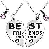 """Maxforever - Set di collane con ciondoli BFF con scritta """"Best Friend Forever"""", colore: Argento/Rosa"""