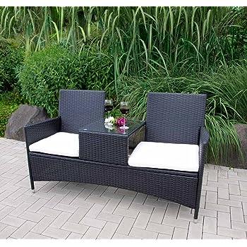 gartenbank loungem bel terrassenbank balkonbank bank mit tisch 2 sitzer sitzbank. Black Bedroom Furniture Sets. Home Design Ideas