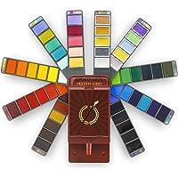 Apolo Arte Aquarelle Peinture - Kit De Peinture Aquarelle Premium   56 Couleurs (Dont Aquarelle Metallique) + Pinceau…