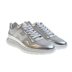 HOGAN Zapatos de Mujer Zapatillas Bajas HXW3710AP31KWX0906 H371 INTERACTIVE3 Talla 37 Plata Blanco