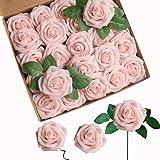 Fiori Artificiali, ACDE Rosa Artificiali 25 Pezzi Rose Finte Schiuma Aspetto Reale con Foglia e Gambo Regolabile per DIY Matr