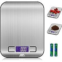 Bilancia digitale da cucina Adoric Bilancia digitale elettronica da cucina con Alimenti 5kg 11lb e Acciaio Inossidabile Argento