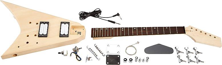 Rocktile DIY RR Bausatz E-Gitarre (Do-it-yourself E-Gitarre Bausatz RR-Style, Korpus: Linde, Hals: Ahorn geschraubt, Griffbrett: Palisander)